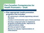 pan canadian competencies for health promoters draft2