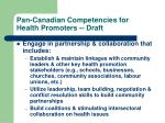 pan canadian competencies for health promoters draft5