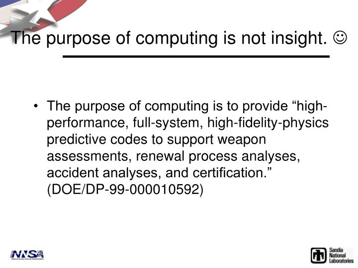 The purpose of computing is not insight.
