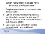 which recruitment methods have evidence of effectiveness