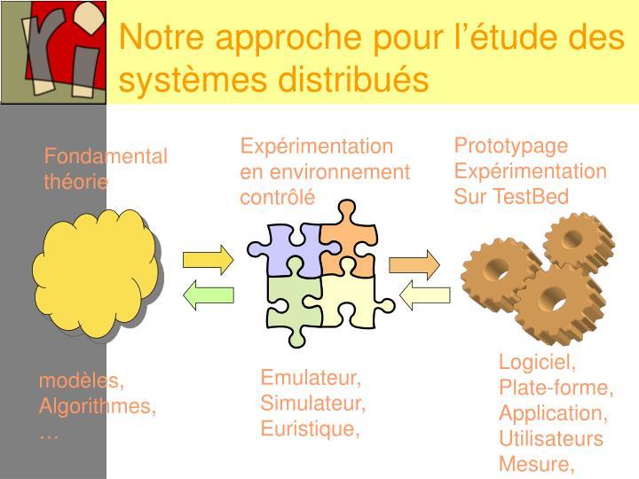Notre approche pour l'étude des systèmes distribués