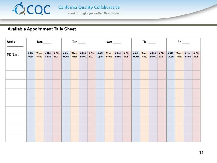 Available Appointment Tally Sheet