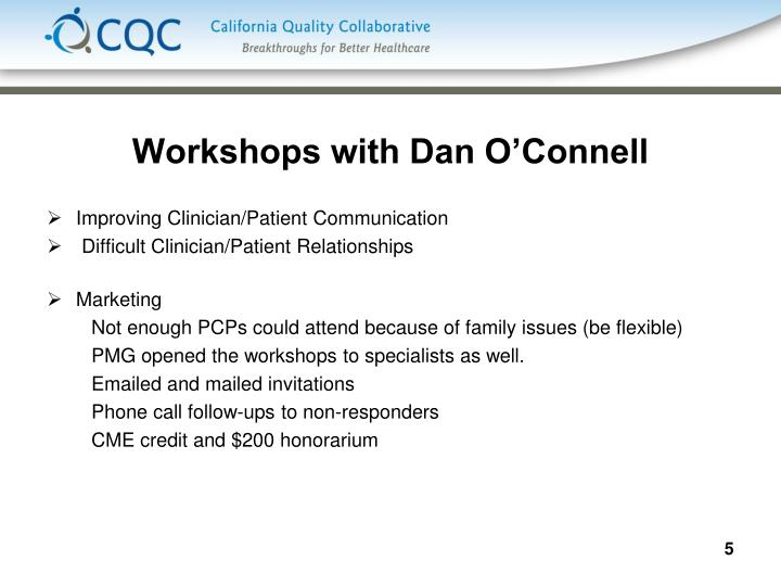 Workshops with Dan O'Connell