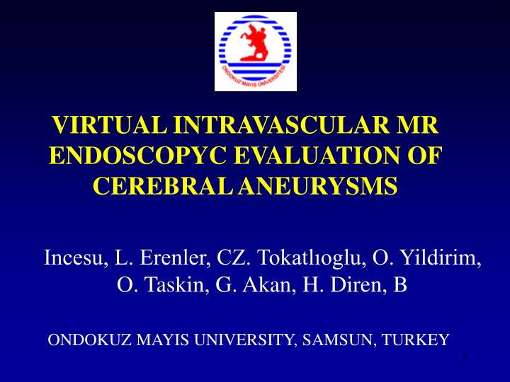 Virtual intravascular mr endoscopyc evaluation of cerebral aneurysm s
