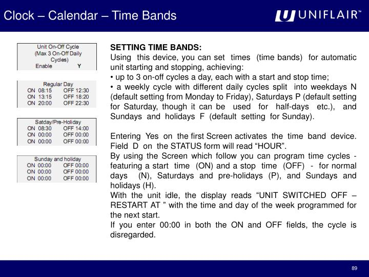 Clock – Calendar – Time Bands