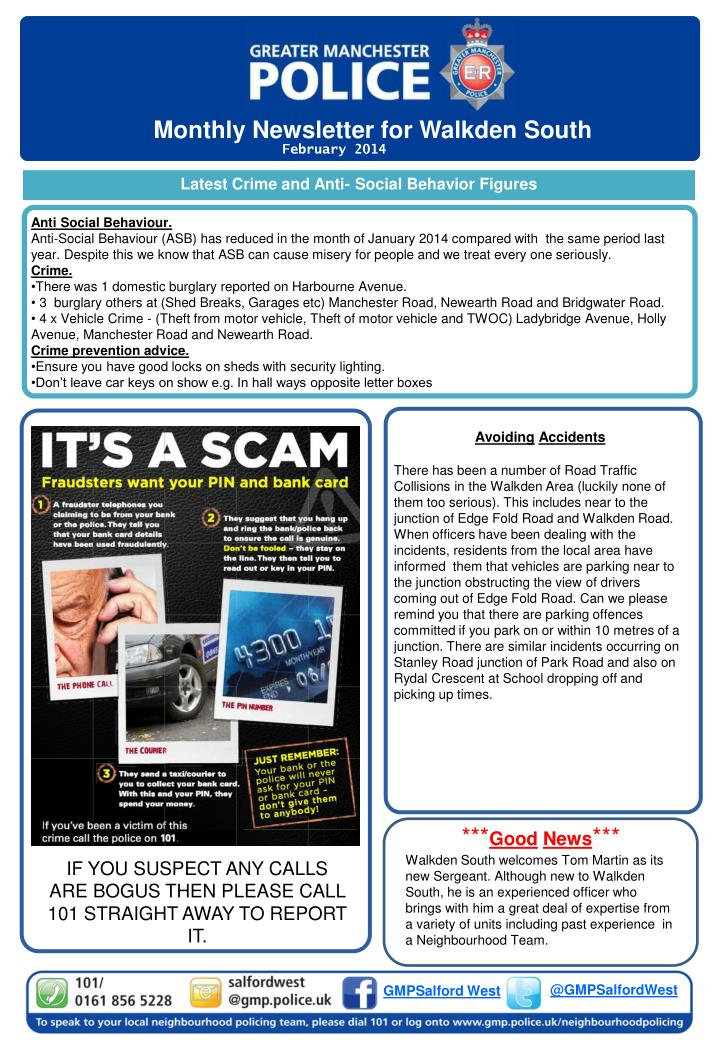 Monthly Newsletter for Walkden South