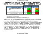 casualties killed or seriously injured ksi from road traffic collisions rtcs