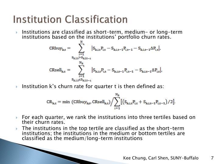 Institution Classification