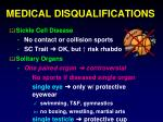 medical disqualifications