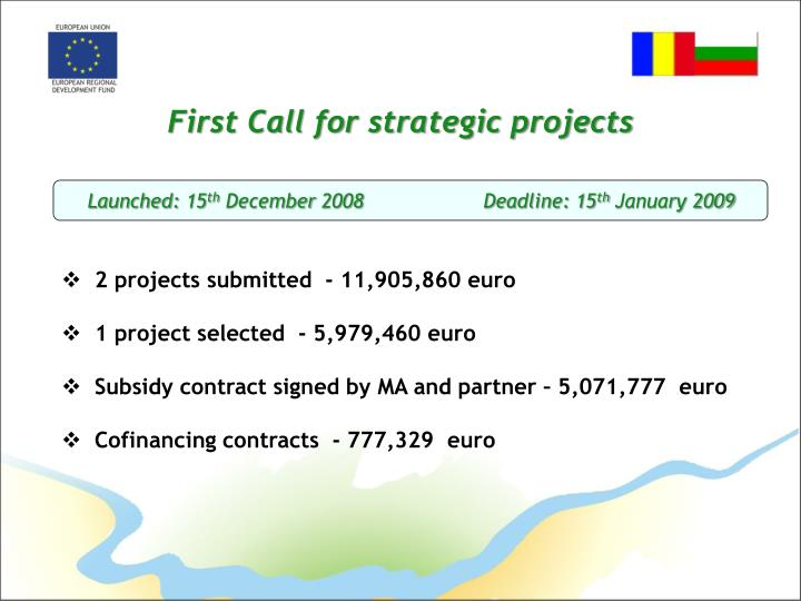 First Call for strategic projects