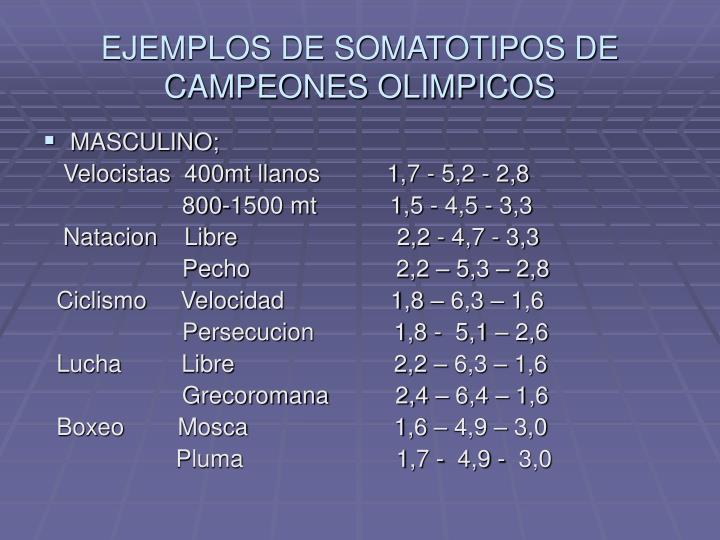 EJEMPLOS DE SOMATOTIPOS DE CAMPEONES OLIMPICOS