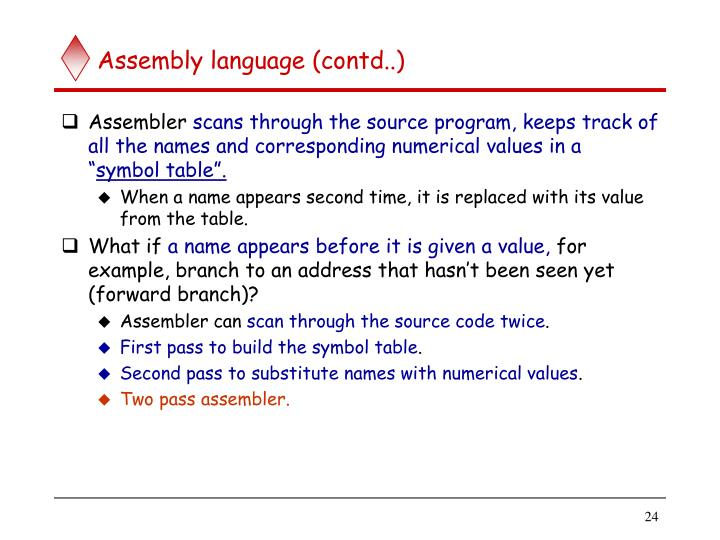 Assembly language (contd..)