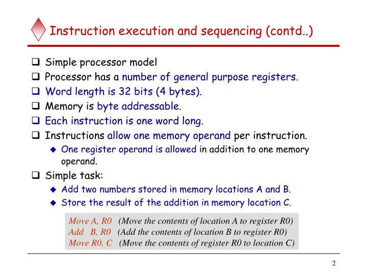 Instruction execution and sequencing contd