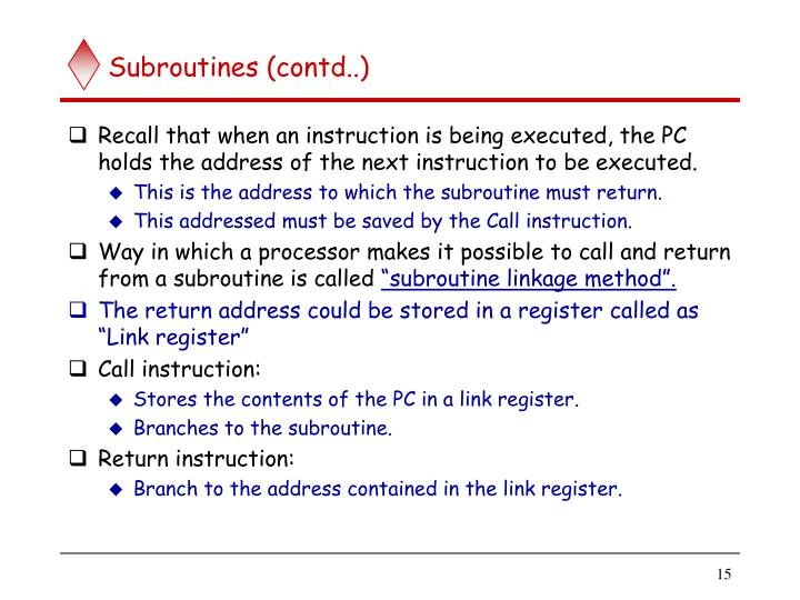 Subroutines (contd..)