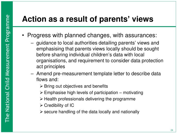 Action as a result of parents' views