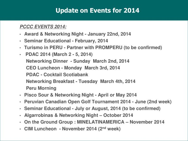 Update on Events for 2014