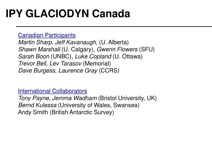 IPY GLACIODYN Canada