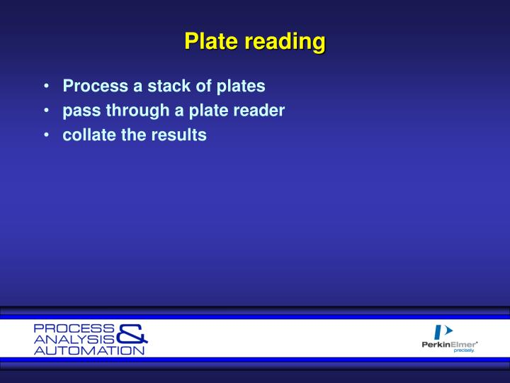 Plate reading