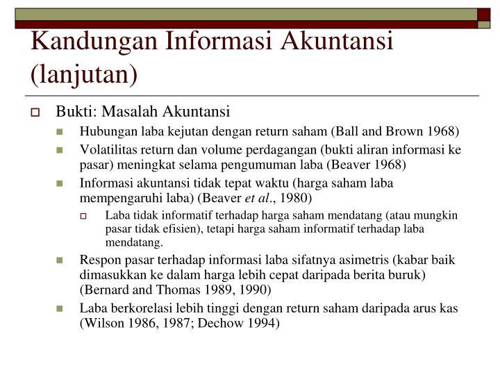 Kandungan Informasi Akuntansi (lanjutan)
