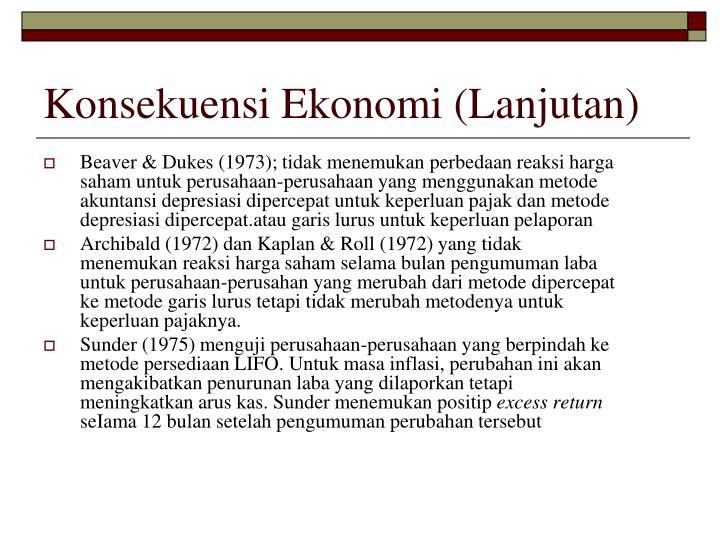Konsekuensi Ekonomi (Lanjutan)