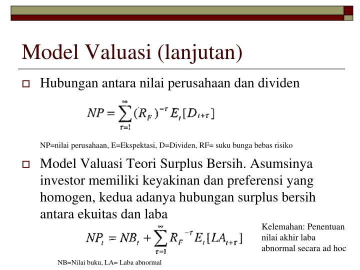 Model Valuasi (lanjutan)