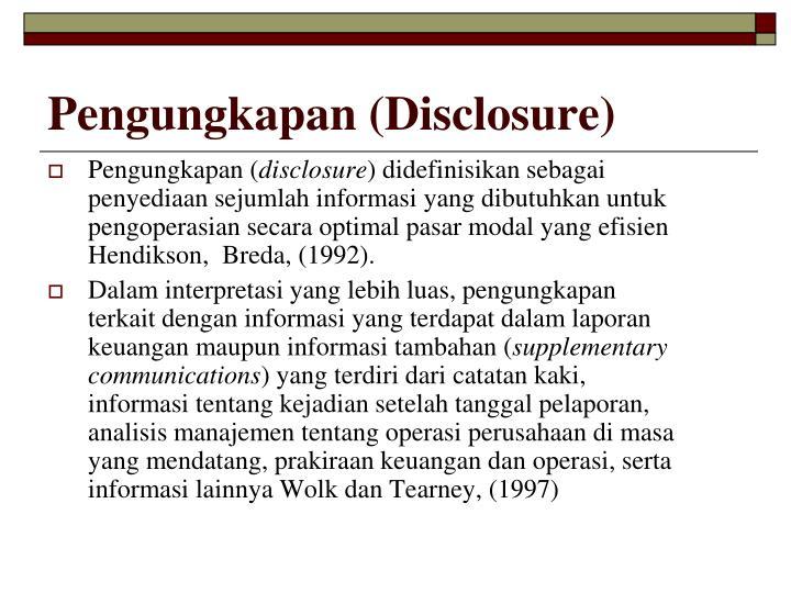 Pengungkapan (Disclosure)