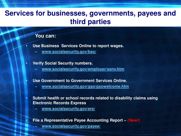 Services for businesses, governments, payees and third parties
