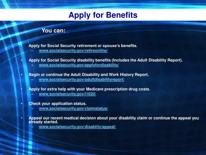 Apply for Benefits