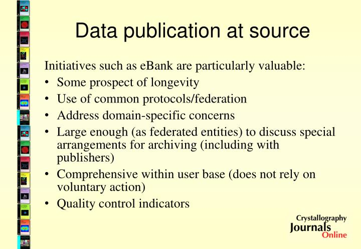 Data publication at source