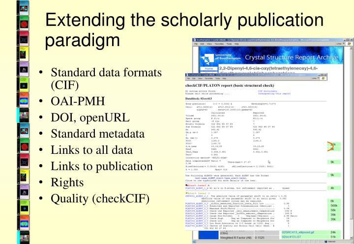 Extending the scholarly publication paradigm