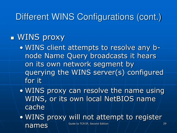 Different WINS Configurations (cont.)