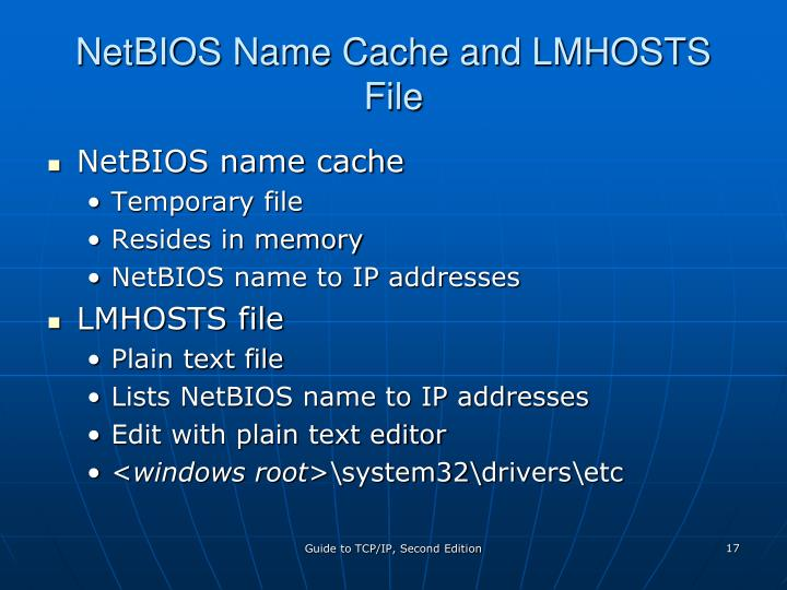 NetBIOS Name Cache and LMHOSTS File