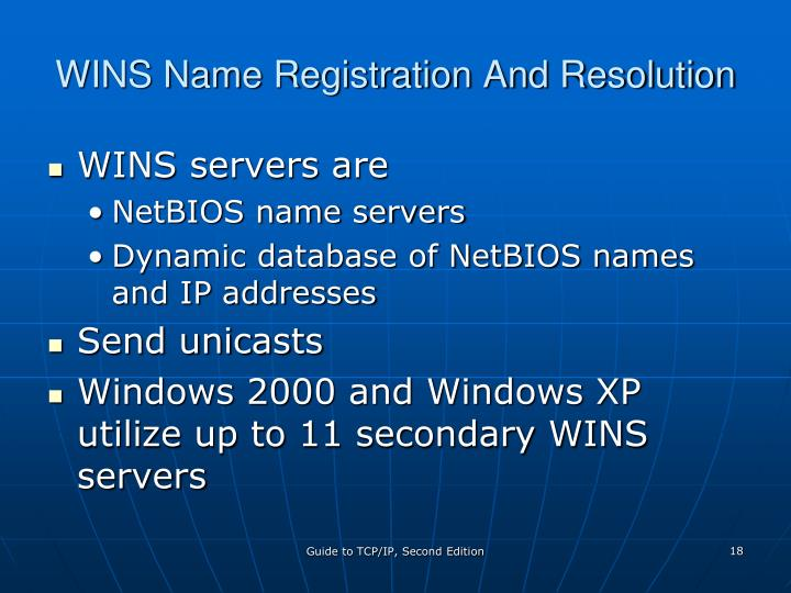WINS Name Registration And Resolution