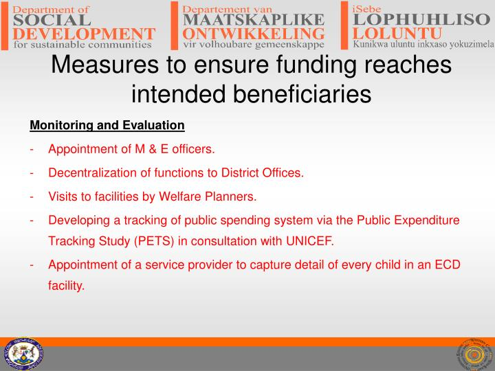 Measures to ensure funding reaches intended beneficiaries