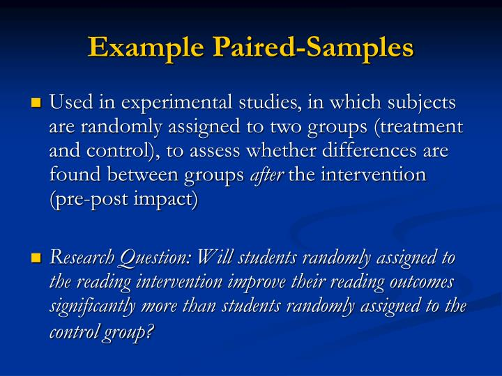 Example Paired-Samples