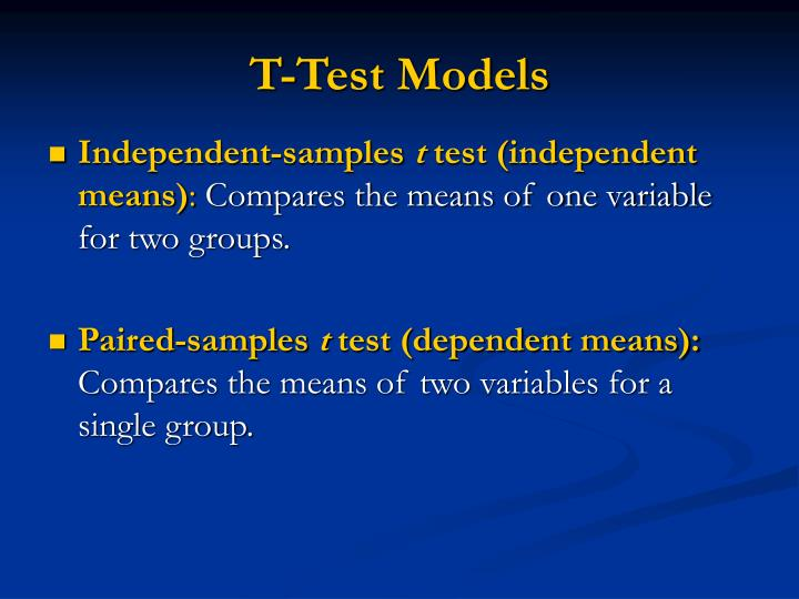 T test models