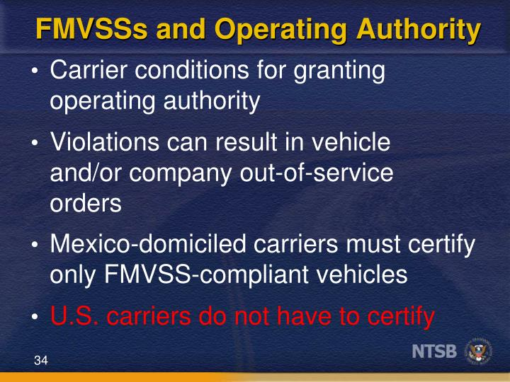 FMVSSs and Operating Authority