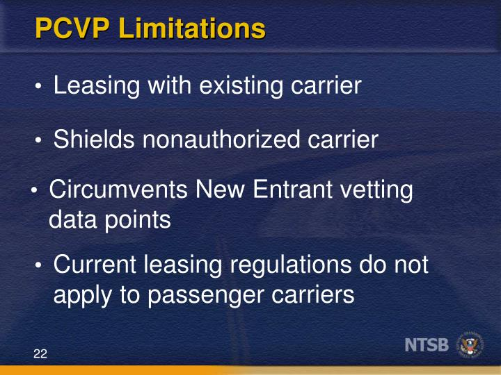 PCVP Limitations