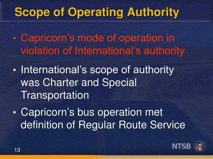 Scope of Operating Authority