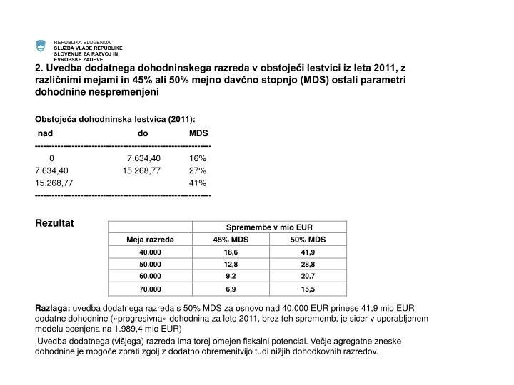 2. Uvedba dodatnega dohodninskega razreda v obstoječi lestvici iz leta 2011, z različnimi mejami in 45% ali 50% mejno davčno stopnjo (MDS) ostali parametri dohodnine nespremenjeni
