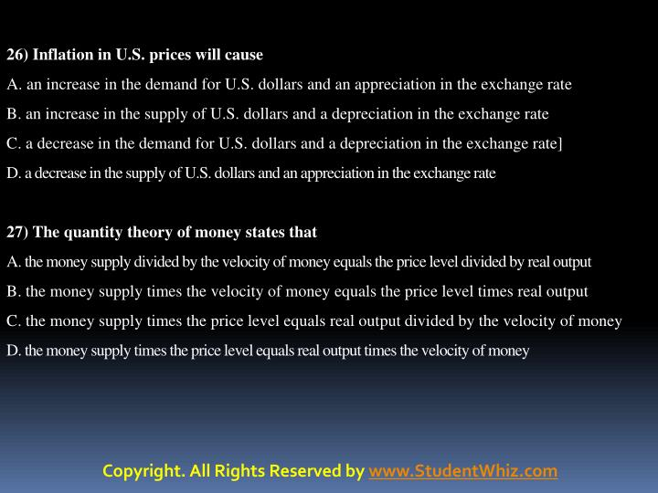 26) Inflation in U.S. prices will cause
