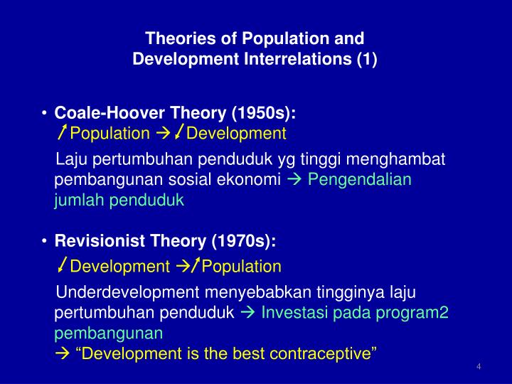population theory Theories on population 1 population 2 optimum populationthis is said to be achieved when the number of people working with all the available resources, produces the highest capital economic return resul.