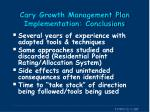 cary growth management plan implementation conclusions