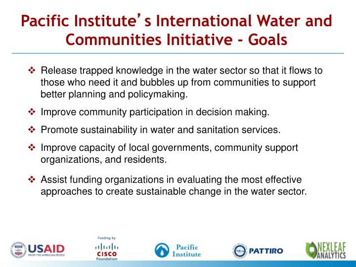 Pacific institute s international water and communities initiative goals
