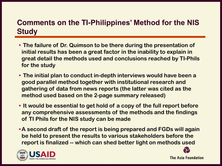 Comments on the TI-Philippines' Method for the NIS Study