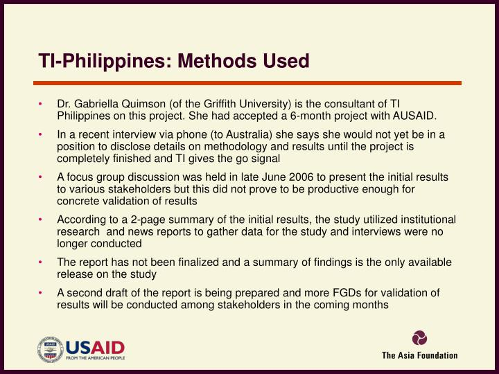 TI-Philippines: Methods Used