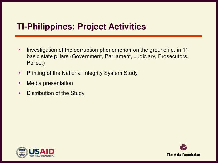 TI-Philippines: Project Activities