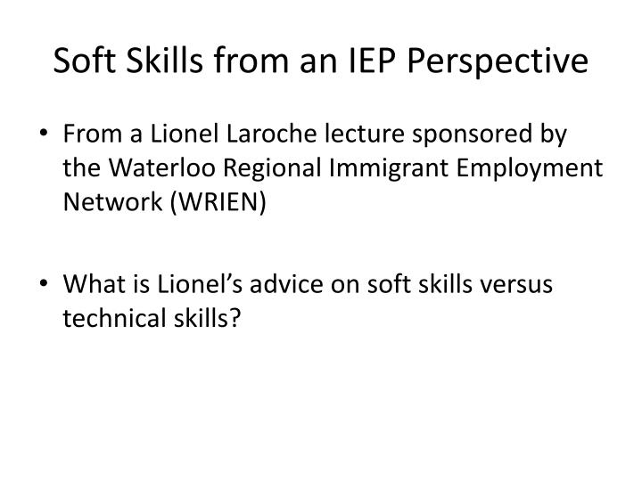 Soft skills from an iep perspective