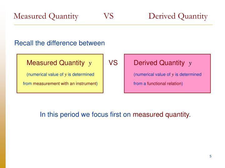Measured Quantity VSDerived Quantity