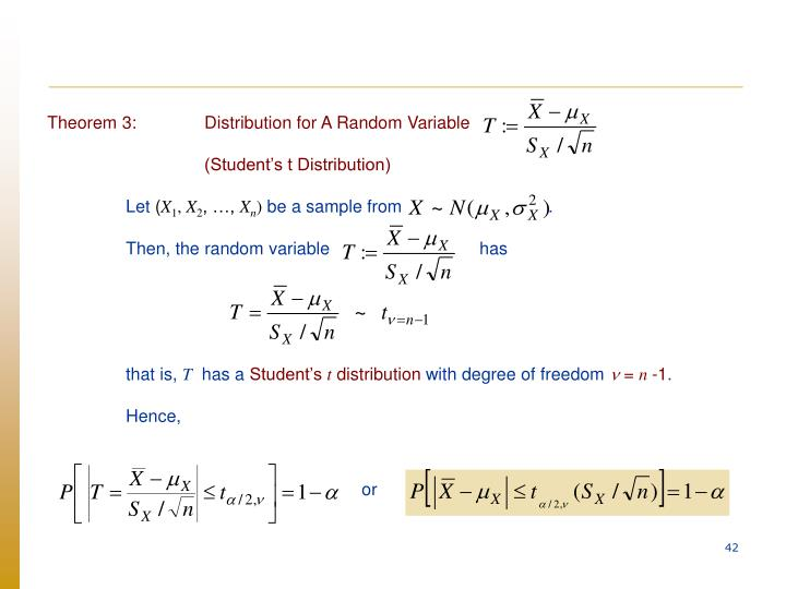 Theorem 3:Distribution for A Random Variable